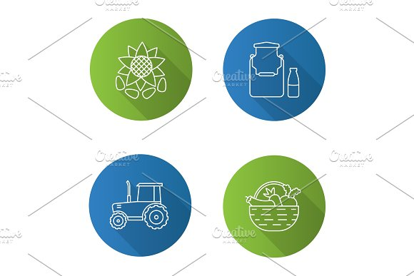 Agriculture flat linear long shadow icons set