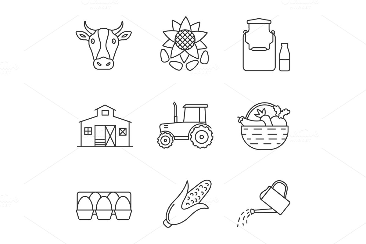 Agriculture linear icons set