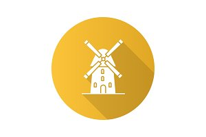 Windmill flat design long shadow glyph icon