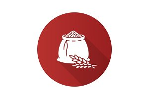 Wheat ears and flour bag flat design long shadow glyph icon