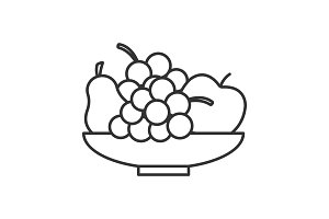 Bowl with fruit linear icon