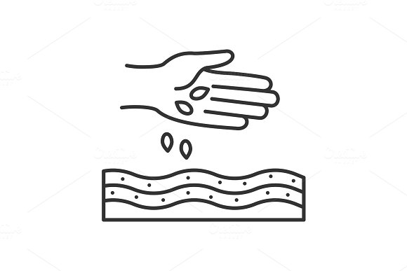 Hand Sowing Seeds Linear Icon