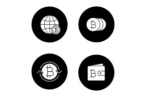 Bitcoin glyph icons set