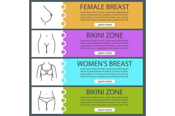 Women's body parts web banner templ…