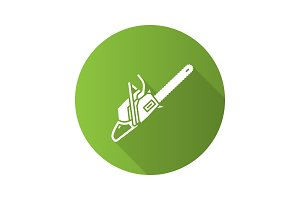 Chainsaw flat design long shadow glyph icon