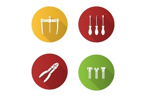Construction tools flat design long shadow glyph icons set
