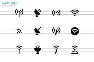 Radio Tower icons on white