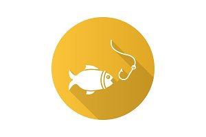 Fish and hook flat design long shadow glyph icon