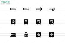 Password icons on white