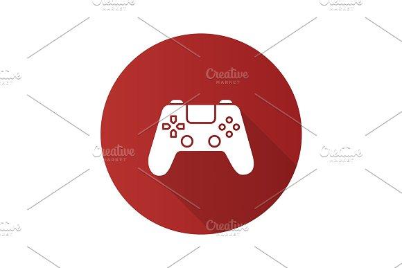 Gamepad flat design long shadow glyph icon