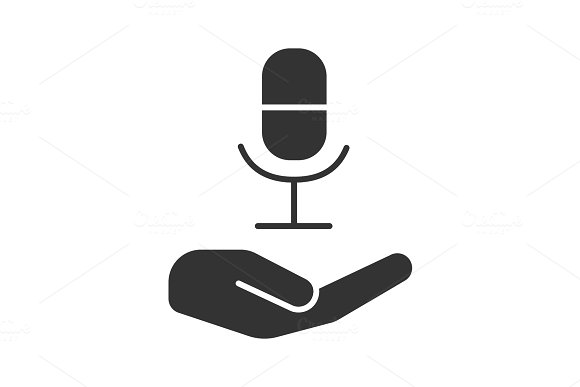 Open hand with microphone glyph icon
