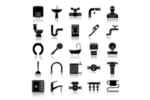Plumbing drop shadow black glyph icons set