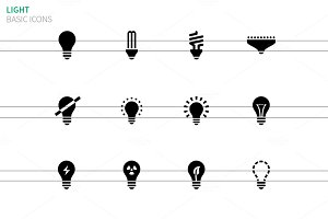Light bulb and CFL lamp icons