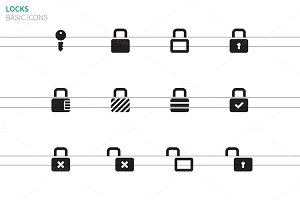 Locks icons on white