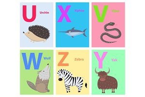 Alphabet Letters U, X, V, W, Z, Y Set with Animal