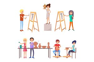 Happy Students Improving their Skills Illustration