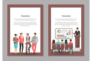 Training Posters Set with People Discussing Issues