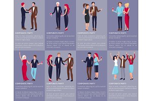 Corporate Party Set of Images Vector Illustration