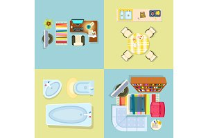 Interior Decor Set of Four Vector Illustration