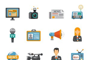 Journalist icon flat set