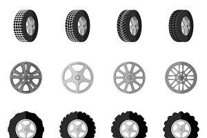 Tire service montage icon set