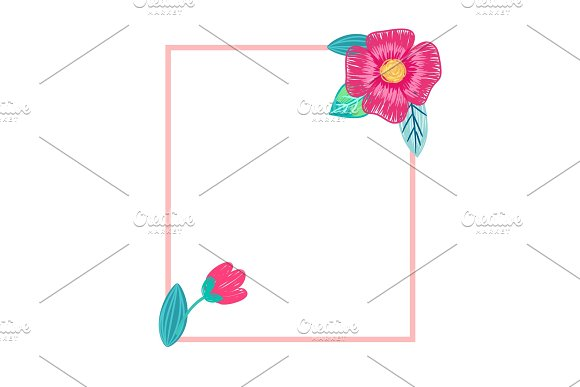 Bright Postcard with Flowers Vector Illustration