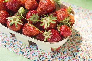Strawberry in a wooden basket