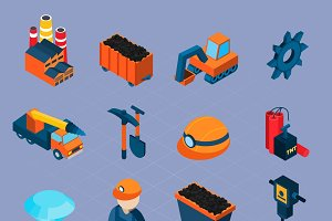 Coal industry isometric icons set