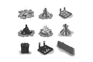 Set Firewood Black and White Bonfire Illustrations