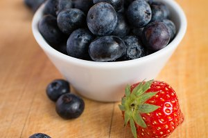 Blueberries and strawberry