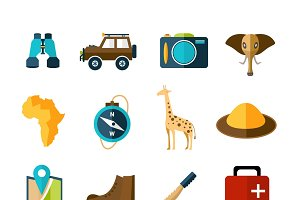 Safari expedition icons set