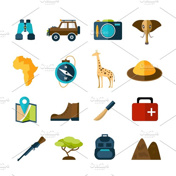 Safari expedition icons set