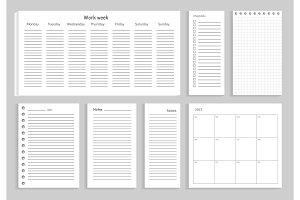 Set of Notes Work Week on Vector Illustration