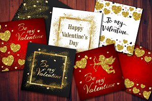 Golden Glittering Valentine Cards