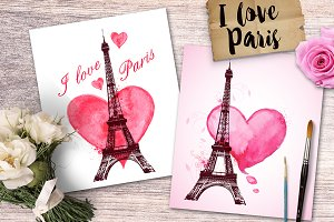 I Love Paris. Romantic cards.