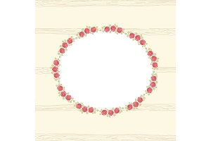 Retro floral frame with roses in shabby chic style