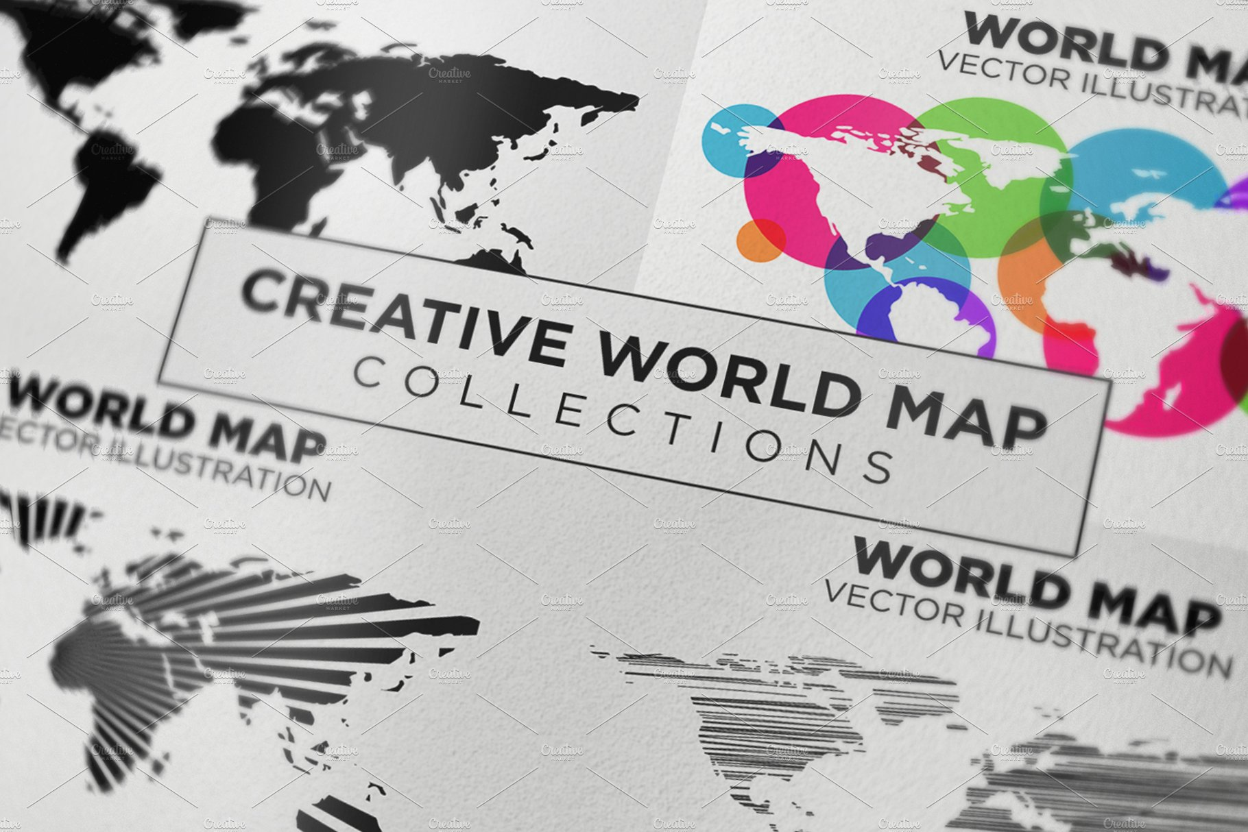 Creative world map vector illustrations creative market gumiabroncs Choice Image