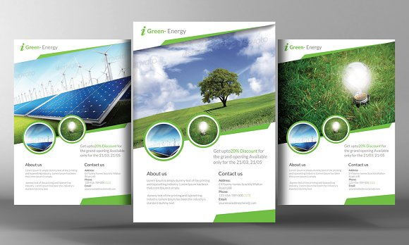 Green Energy Flyer Template Flyer Templates Creative Market