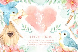 Love Birds Watercolor Cliparts