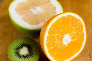Orange fruit, kiwi and grapefruit