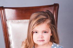 Unhappy kid girl