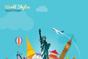 World Travel Skyline Vector