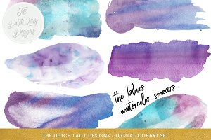 Watercolor Smears in Blue Clipart
