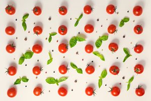flat lay of  trendy cherry tomato