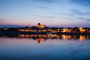 Torun Old Town Twilight River View