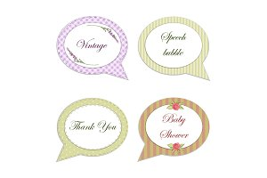 Retro floral frames in shabby chic style