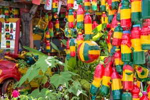 reggae kiosk, green, yellow, red, Rasta-man items in a reggae style