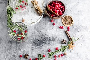 cocktail with cranberry, rosemary an