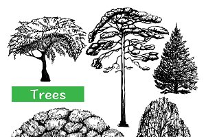 Trees hand drawn black set