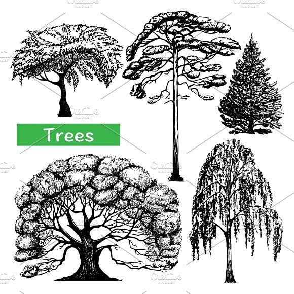 Trees hand drawn black set